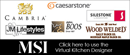 Countertop Manufacturers - Cambria, Caesarstone, Silestone, JM Lifestyles, John Boos, Wood Welded, MSI - Click here to use the Virtual Kitchen Designer